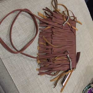 Brown Candie's string leather Cross Over Bag
